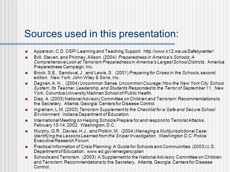 Sources used in this presentation: