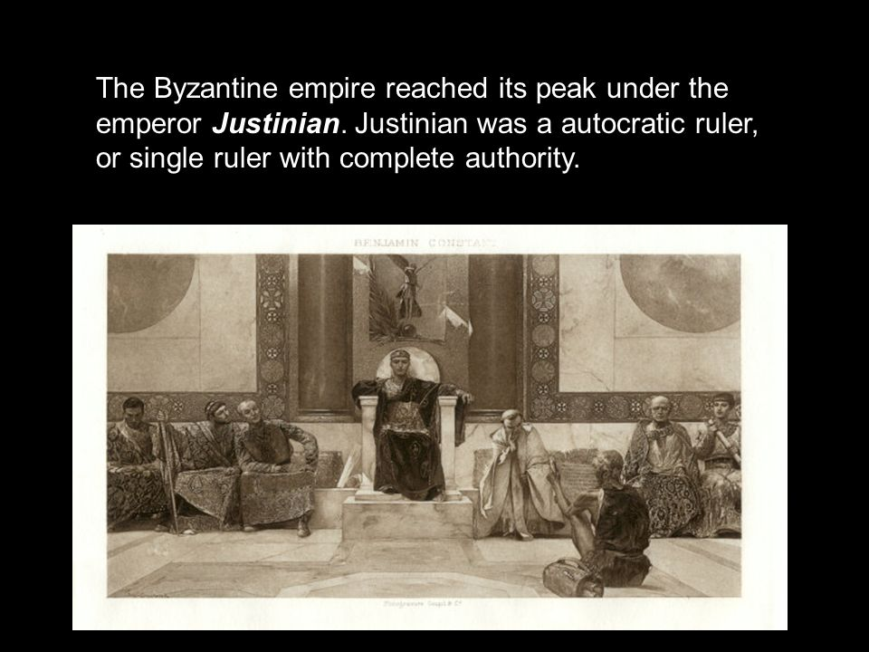 The Byzantine empire reached its peak under the emperor Justinian