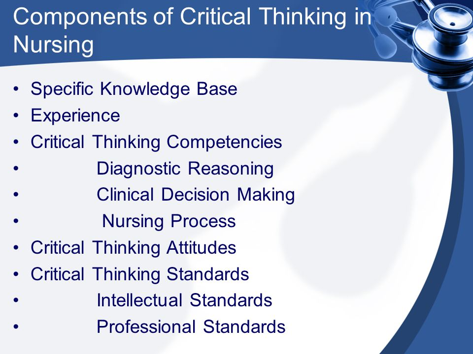 critical thinking and the nursing process ppt Article – critical thinking indicators article – application of critical thinking skills to the role of the legal nurse consultant book – nursing: scope and standards of practice, 2nd edition.