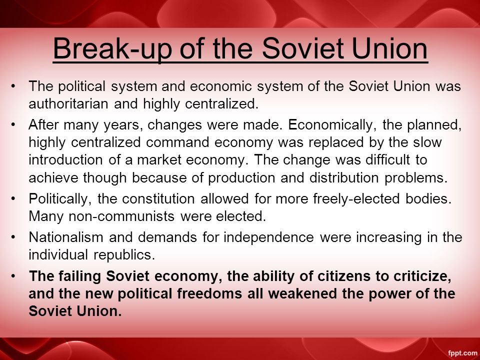 End of the Cold War and the Soviet Union