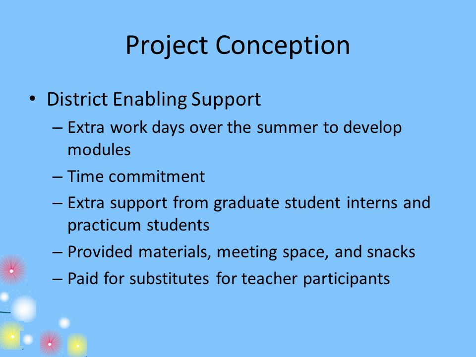 Project Conception District Enabling Support