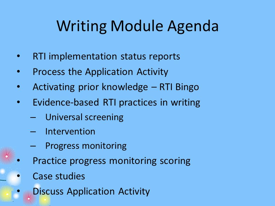Writing Module Agenda RTI implementation status reports