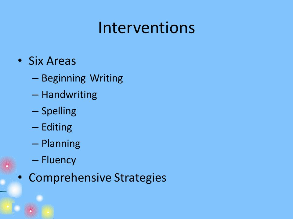 Interventions Six Areas Comprehensive Strategies Beginning Writing