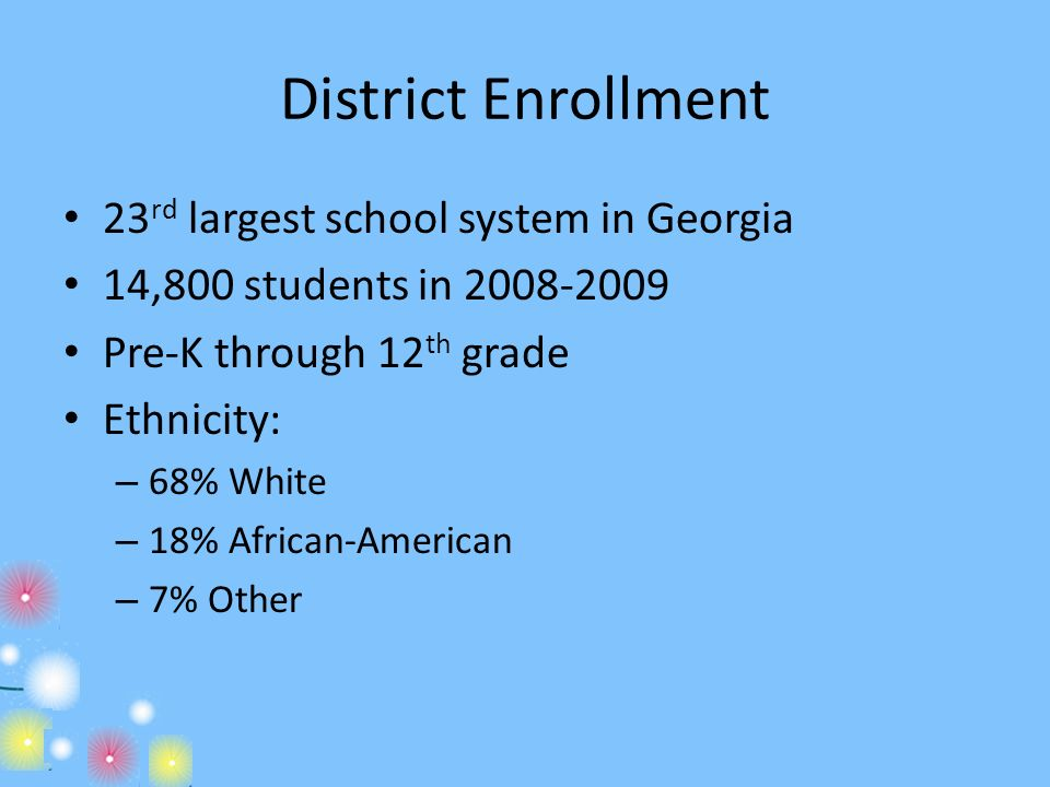 District Enrollment 23rd largest school system in Georgia