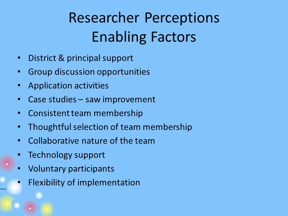 Researcher Perceptions Enabling Factors