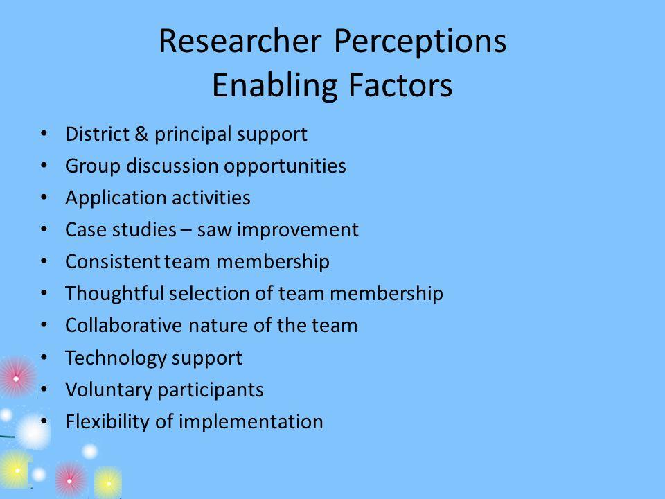Researcher Perceptions Enabling Factors