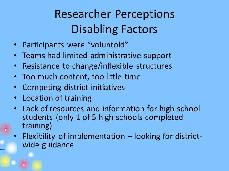 Researcher Perceptions Disabling Factors