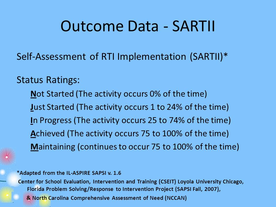 Outcome Data - SARTII Self-Assessment of RTI Implementation (SARTII)*