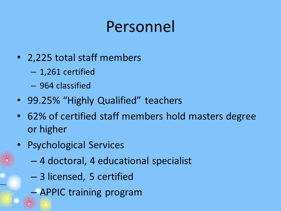 Personnel 2,225 total staff members 99.25% Highly Qualified teachers
