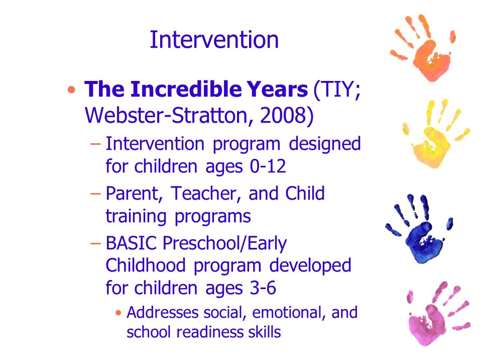 Intervention The Incredible Years (TIY; Webster-Stratton, 2008)