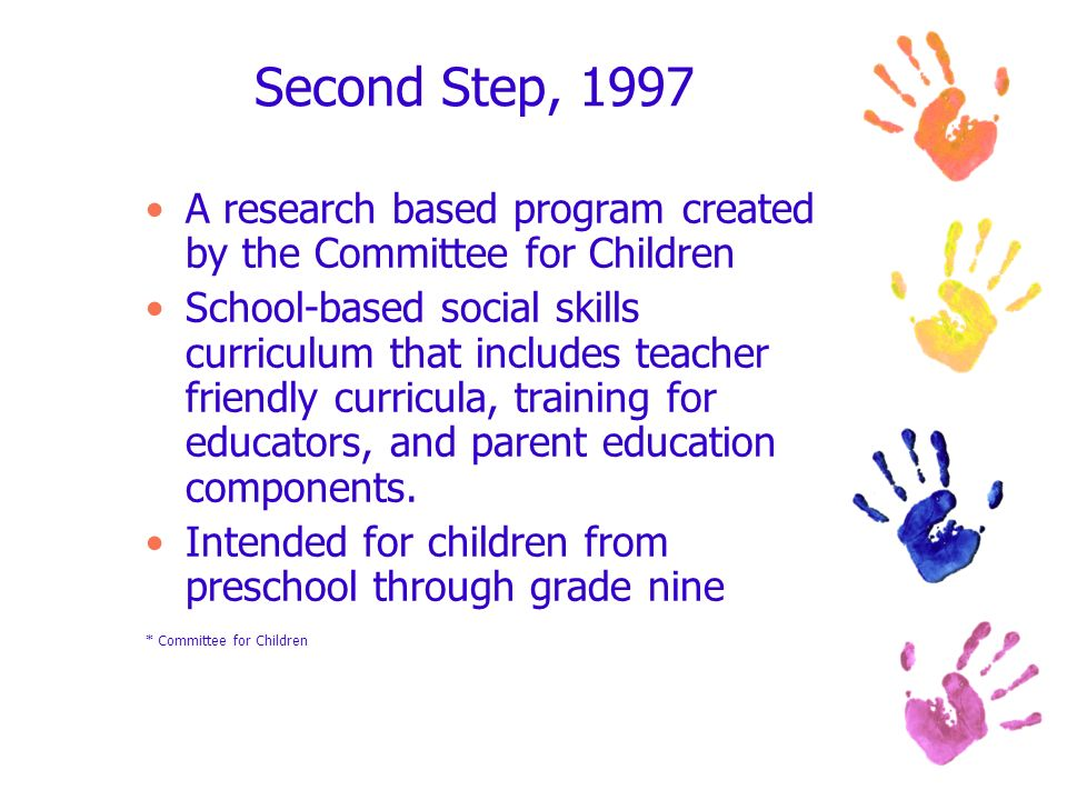 Second Step, 1997 A research based program created by the Committee for Children.