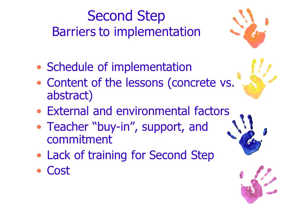 Second Step Barriers to implementation