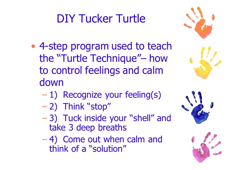 DIY Tucker Turtle 4-step program used to teach the Turtle Technique – how to control feelings and calm down.