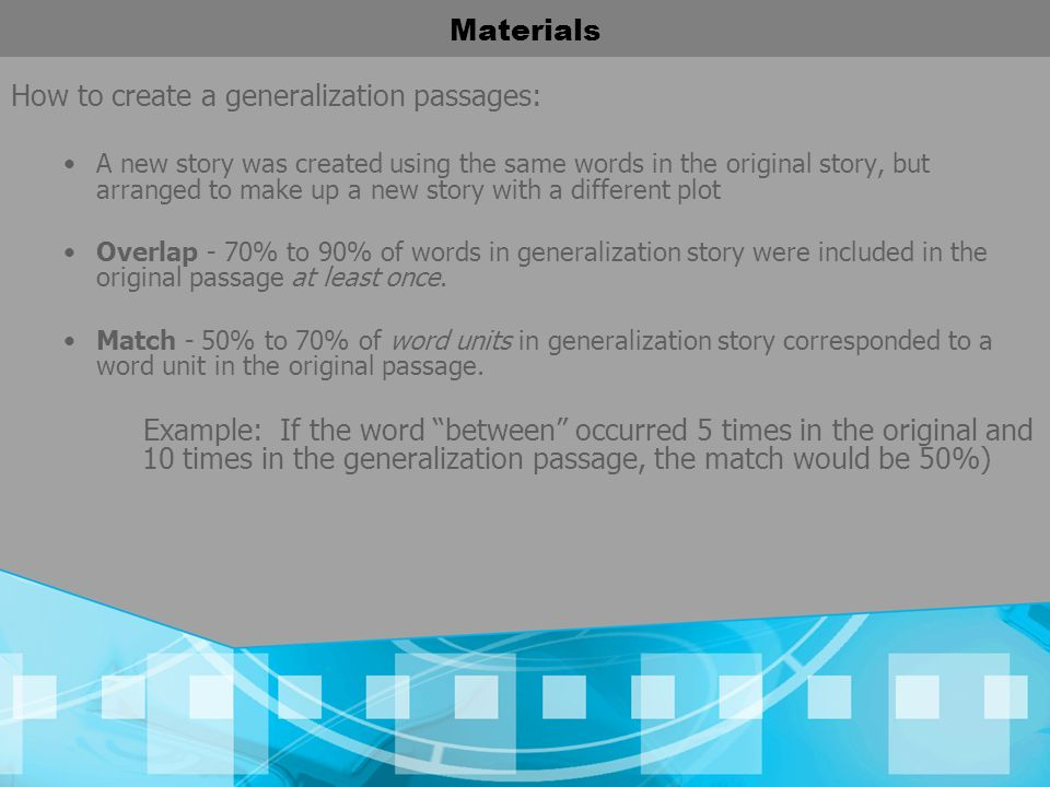 How to create a generalization passages: