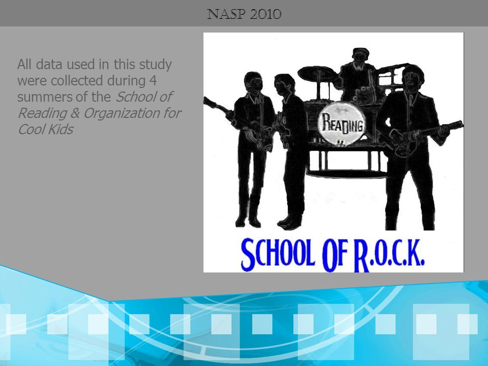 NASP 2010 All data used in this study were collected during 4 summers of the School of Reading & Organization for Cool Kids.