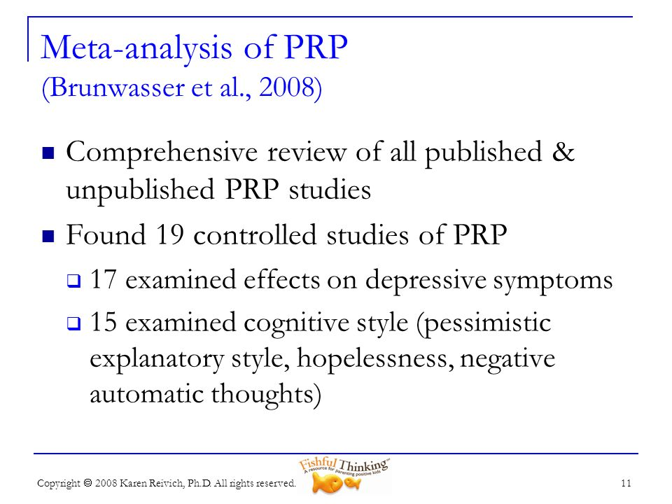 Meta-analysis of PRP (Brunwasser et al., 2008)