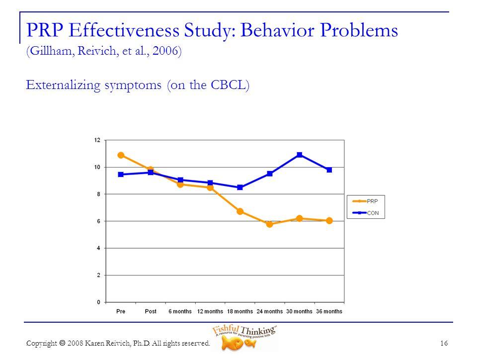 PRP Effectiveness Study: Behavior Problems (Gillham, Reivich, et al
