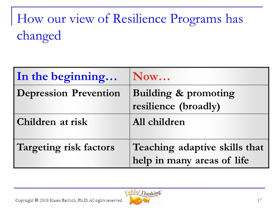 How our view of Resilience Programs has changed