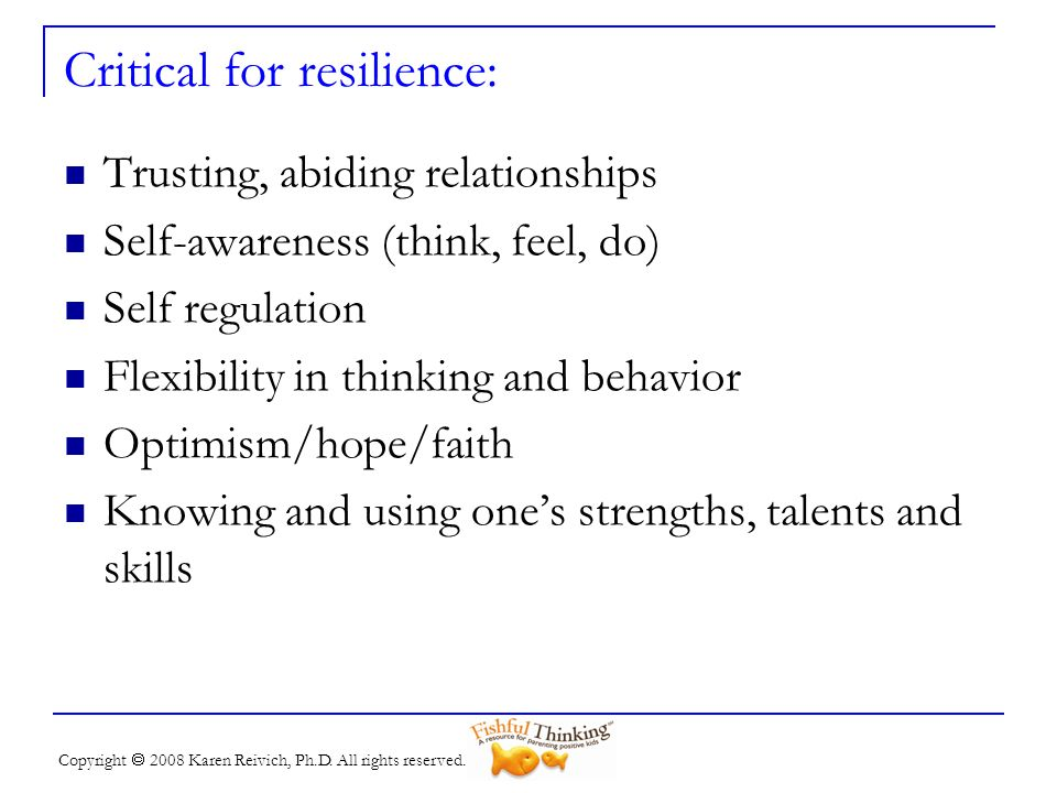 Critical for resilience: