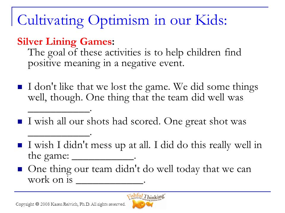 Cultivating Optimism in our Kids: