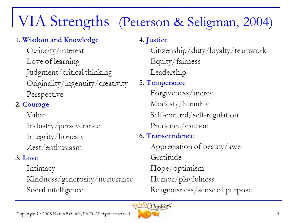 VIA Strengths (Peterson & Seligman, 2004)