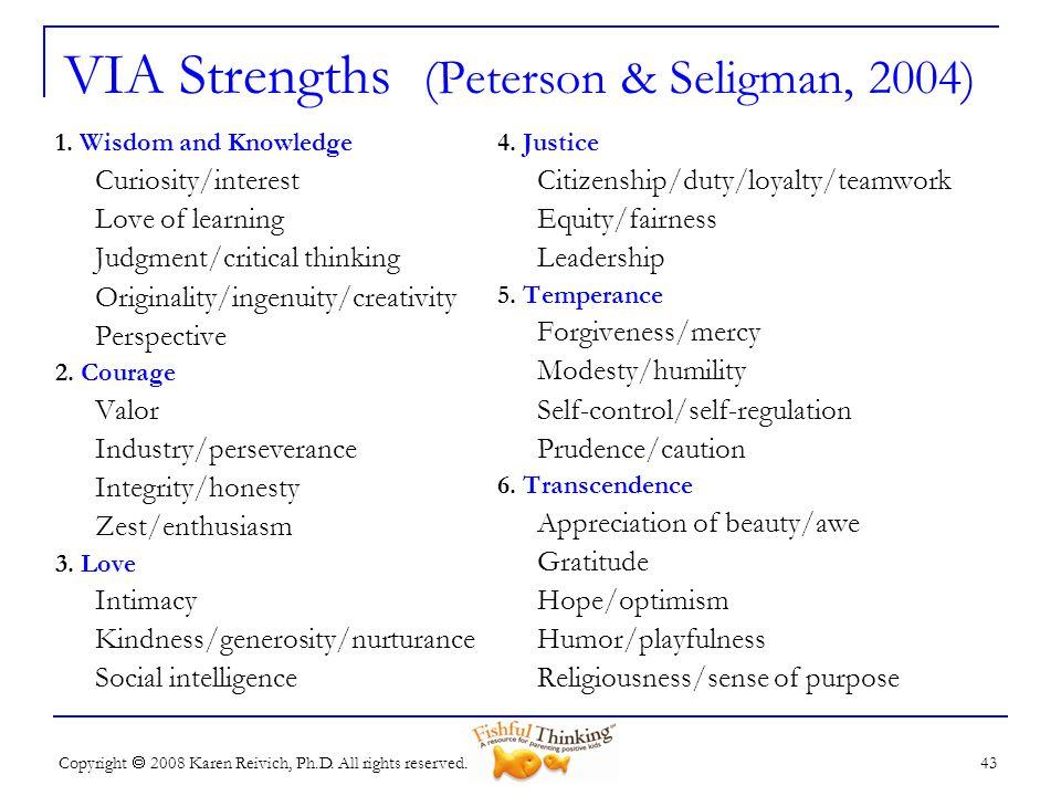 VIA Strengths (Peterson & Seligman, 2004)