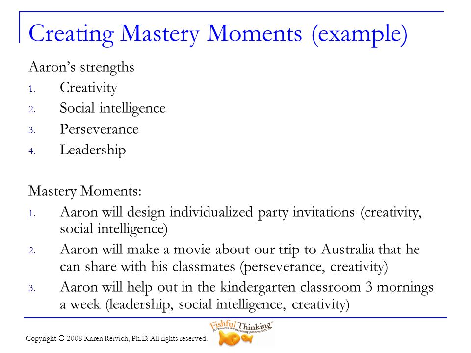Creating Mastery Moments (example)