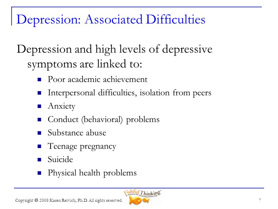 Depression: Associated Difficulties