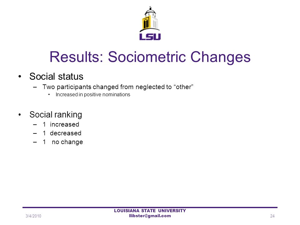 Results: Sociometric Changes