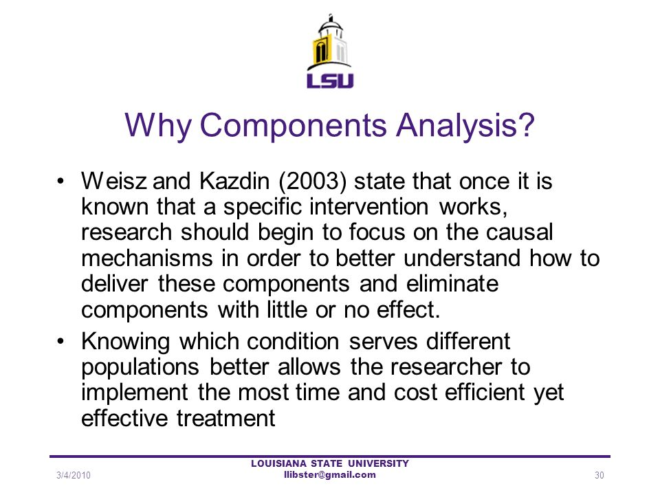 Why Components Analysis