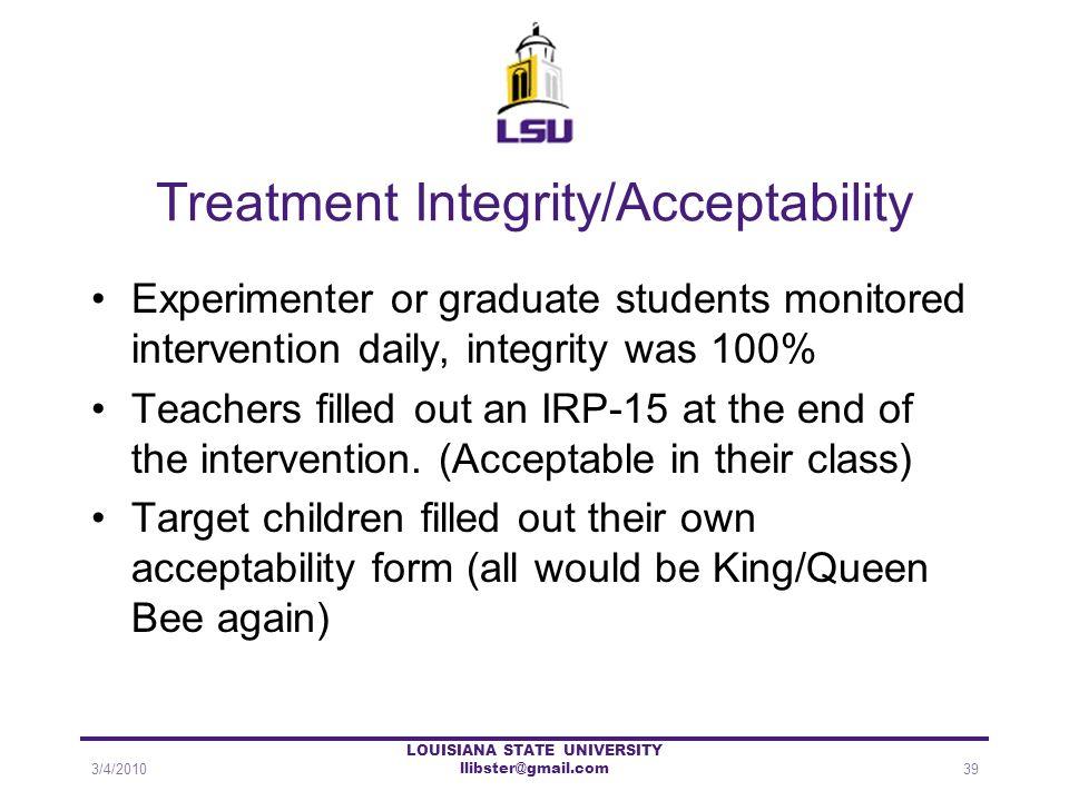 Treatment Integrity/Acceptability