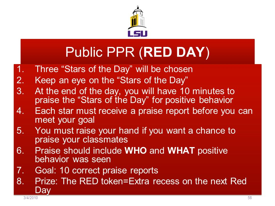 Public PPR (RED DAY) Three Stars of the Day will be chosen