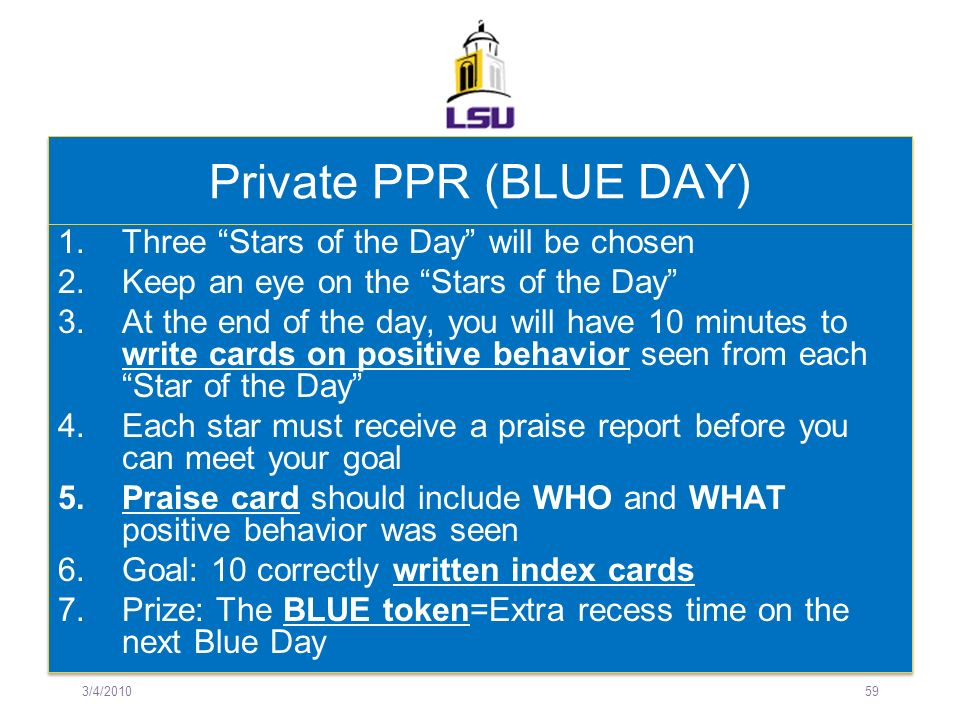 Private PPR (BLUE DAY) Three Stars of the Day will be chosen