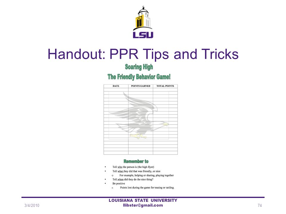 Handout: PPR Tips and Tricks