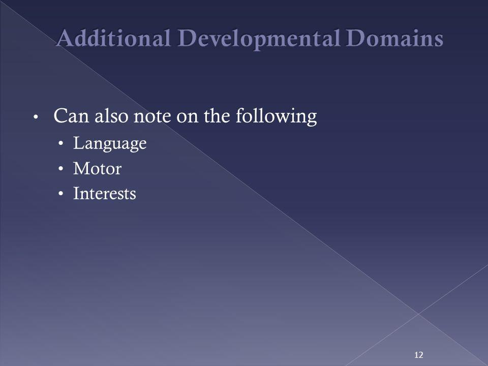 Additional Developmental Domains