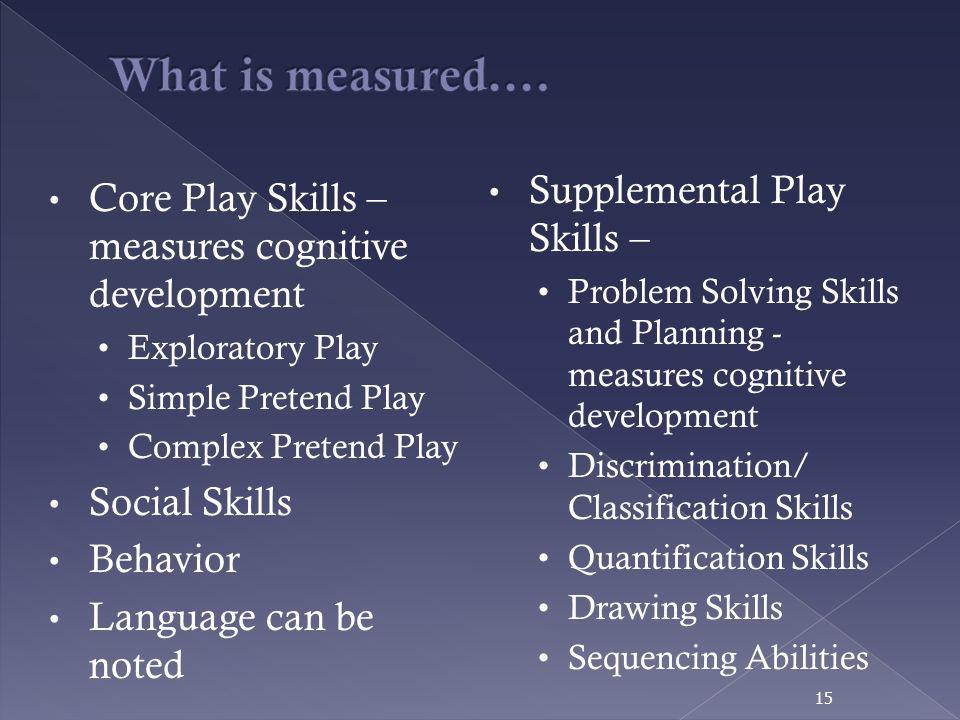 What is measured…. Supplemental Play Skills –
