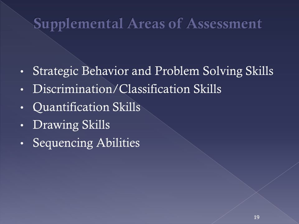 Supplemental Areas of Assessment