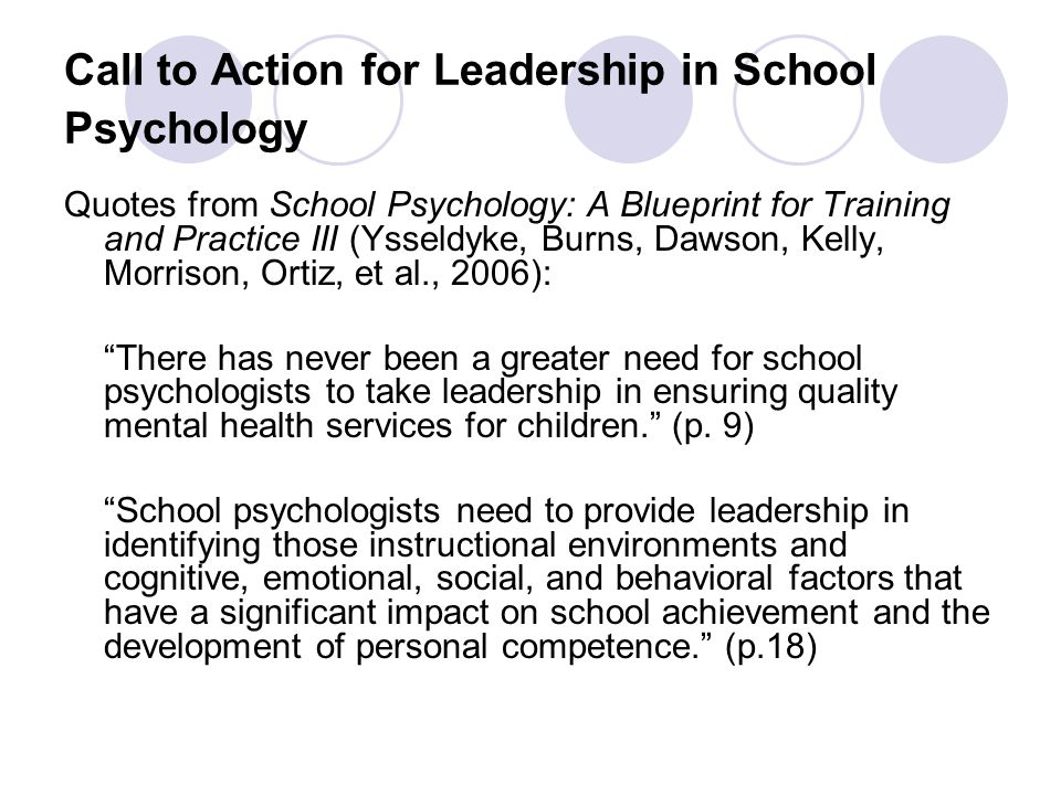 Call to Action for Leadership in School Psychology