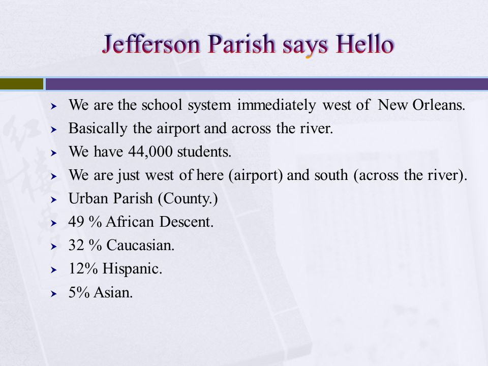 Jefferson Parish says Hello