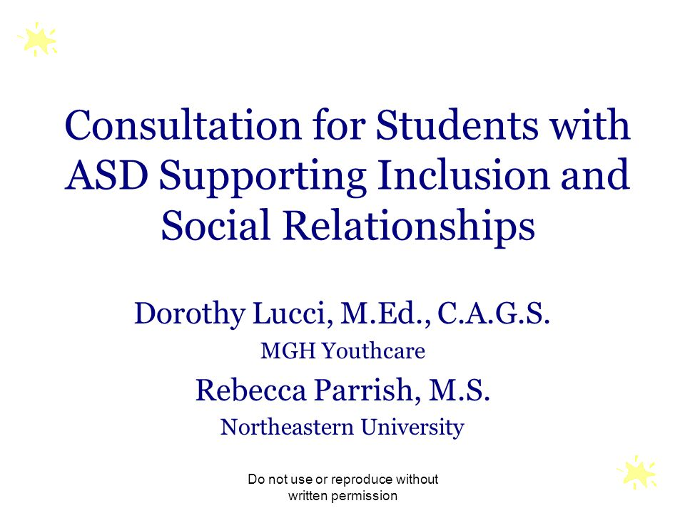 Consultation for Students with ASD Supporting Inclusion and Social Relationships