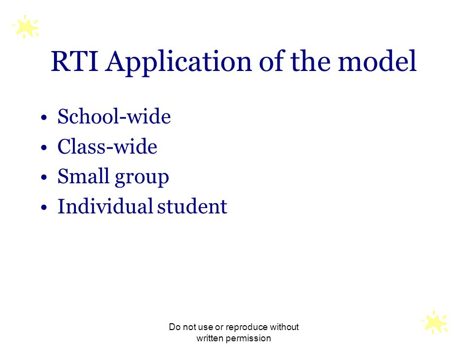 RTI Application of the model