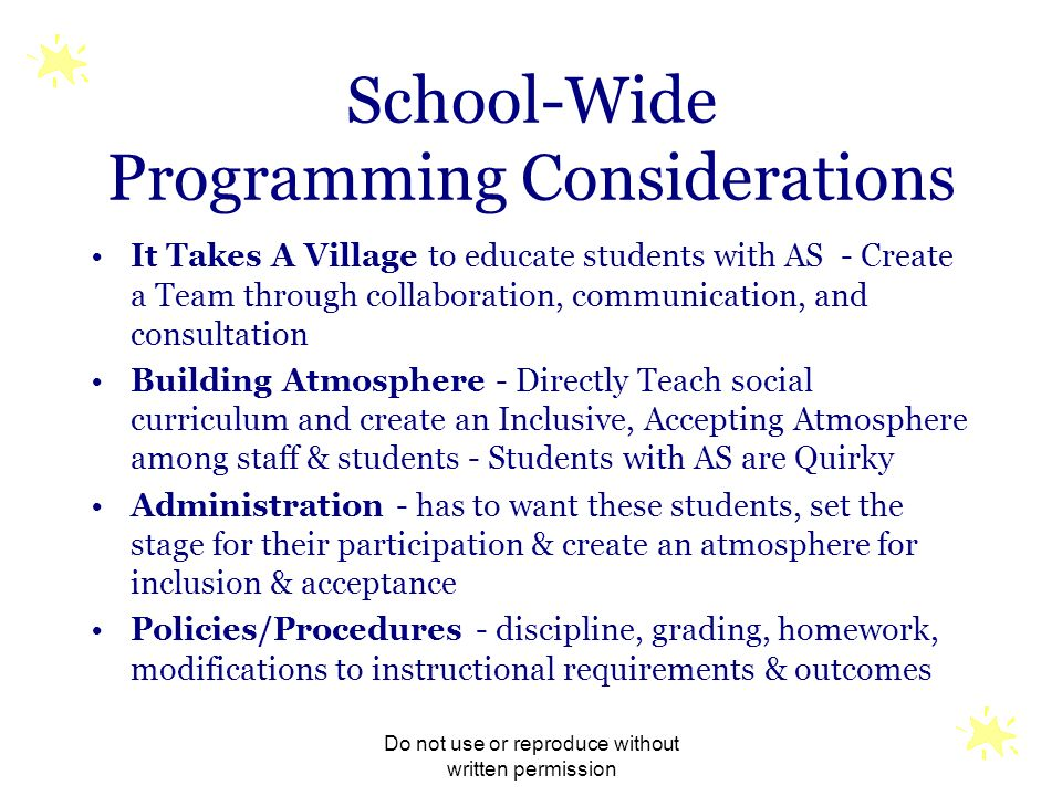 School-Wide Programming Considerations
