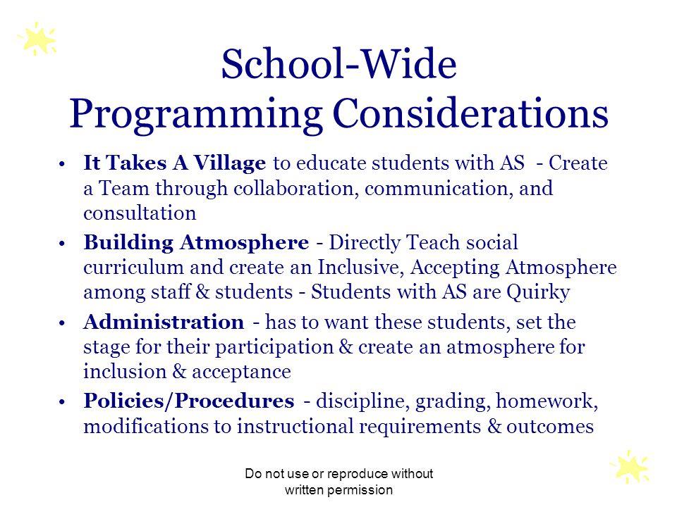 School-Wide Programming Considerations
