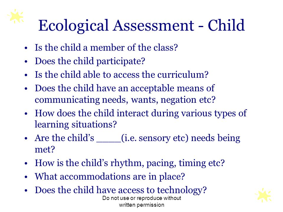 Ecological Assessment - Child