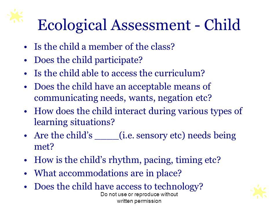 Ecological Assessment - Child