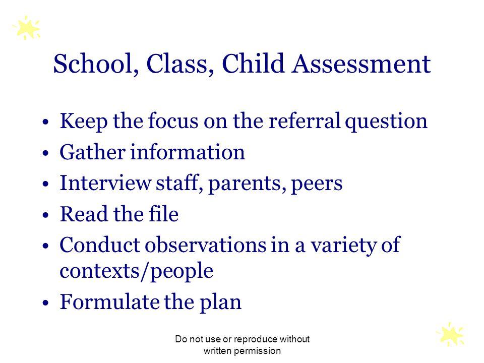 School, Class, Child Assessment