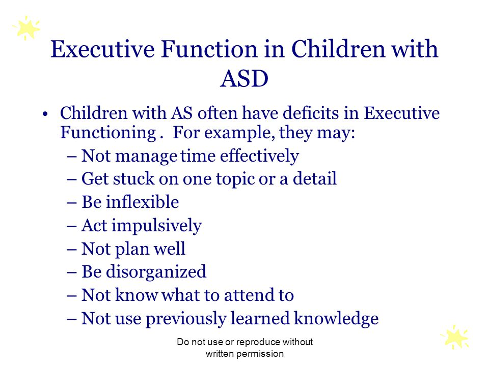 Executive Function in Children with ASD