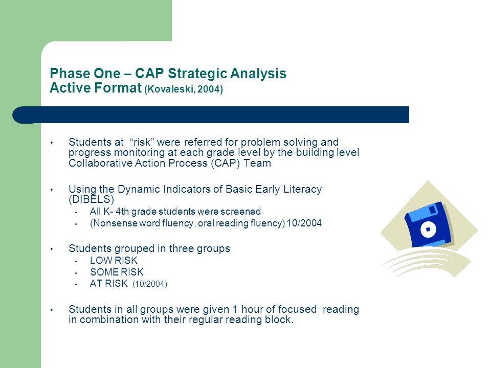 Phase One – CAP Strategic Analysis Active Format (Kovaleski, 2004)