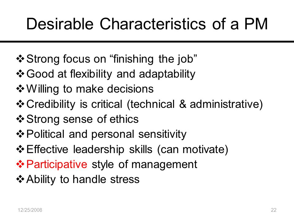 characteristics of a good project manager pdf