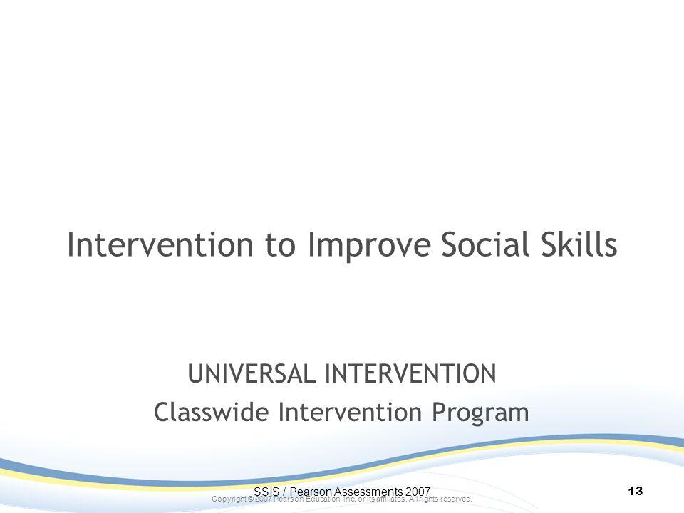 Intervention to Improve Social Skills